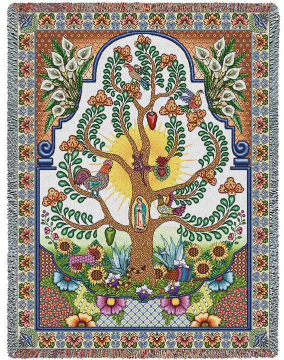 Arboles De La Vida Tapestry Blanket