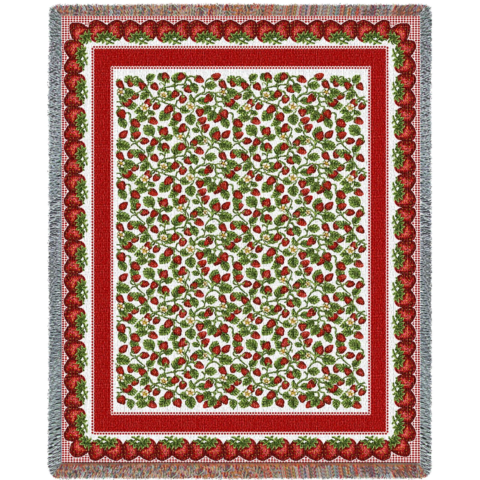 Strawberry Festival (Botanicals) Tapestry Decorative Afghan Throw