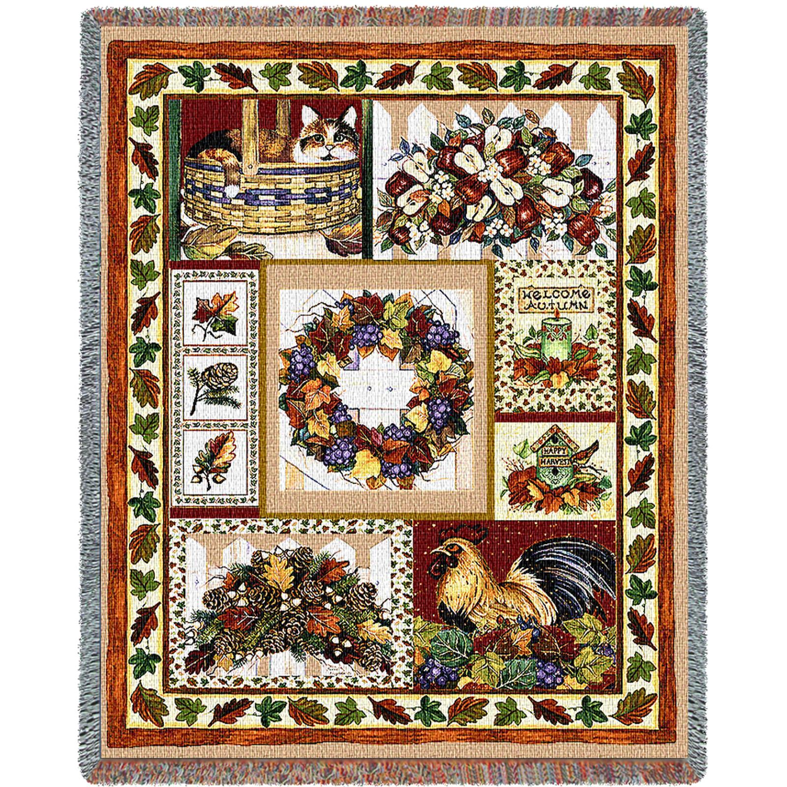 Fall Patchwork Tapestry Throw