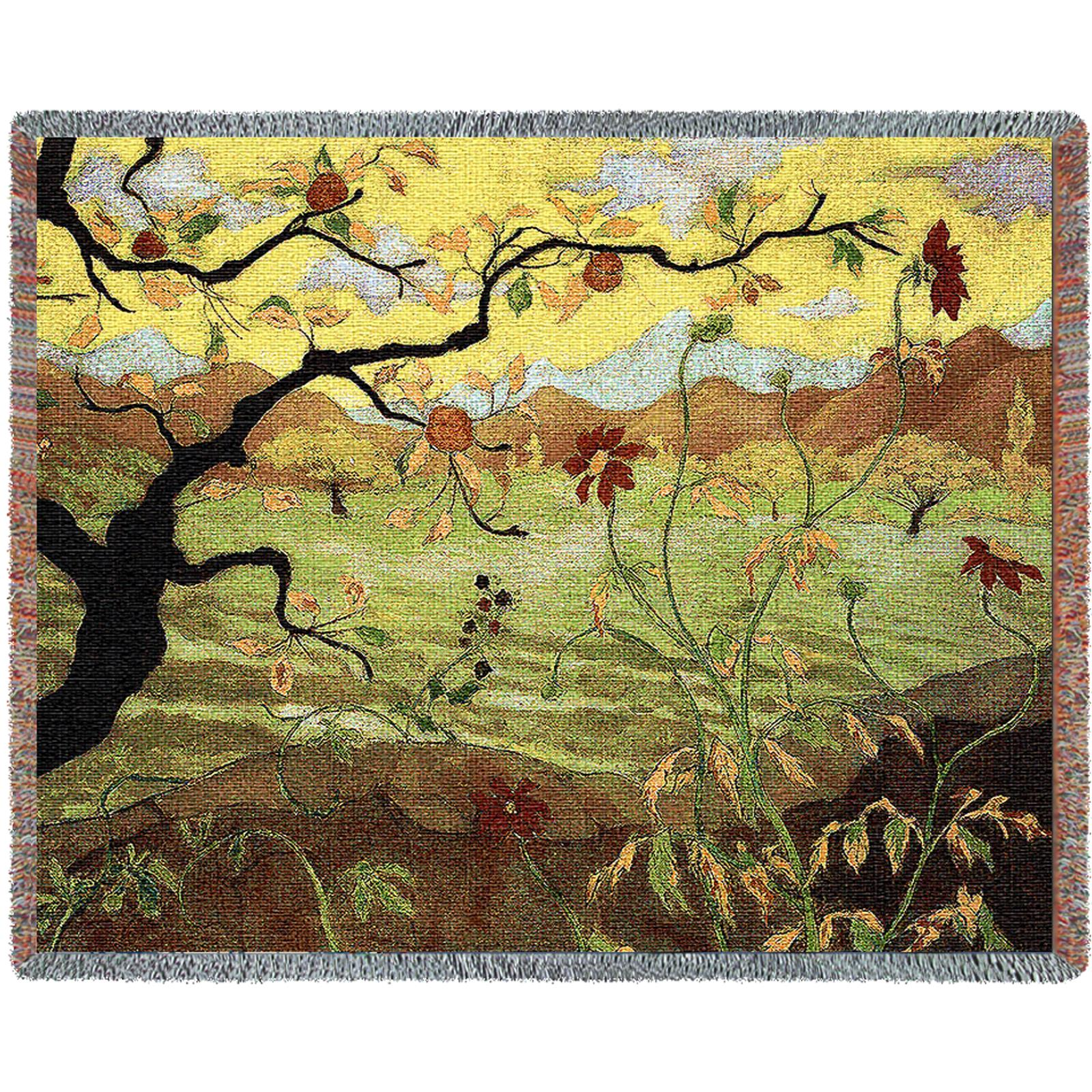 Apple Tree With Red Fruit Tapestry Decorative Afghan Throw