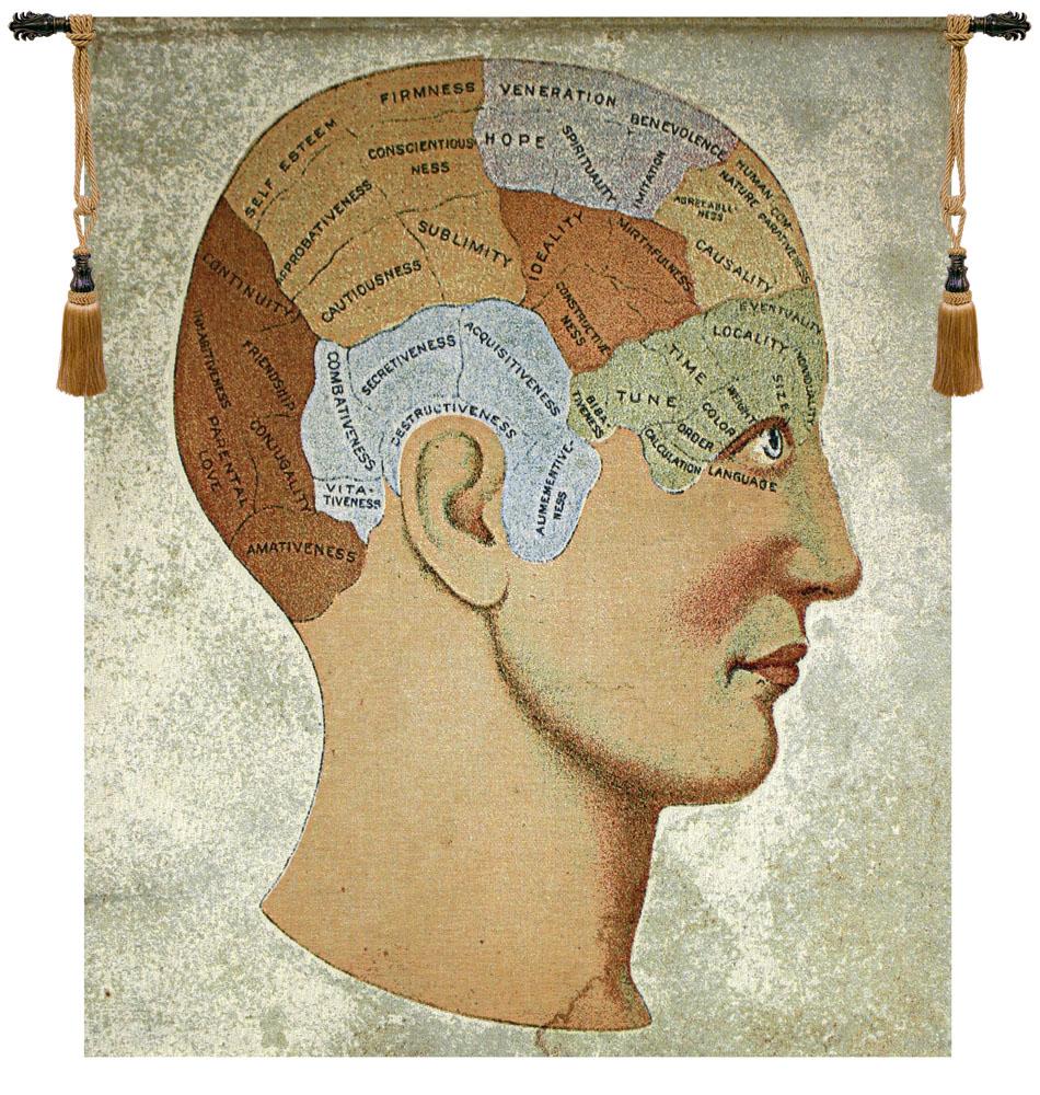 Vintage Phrenology Fine Art Tapestry