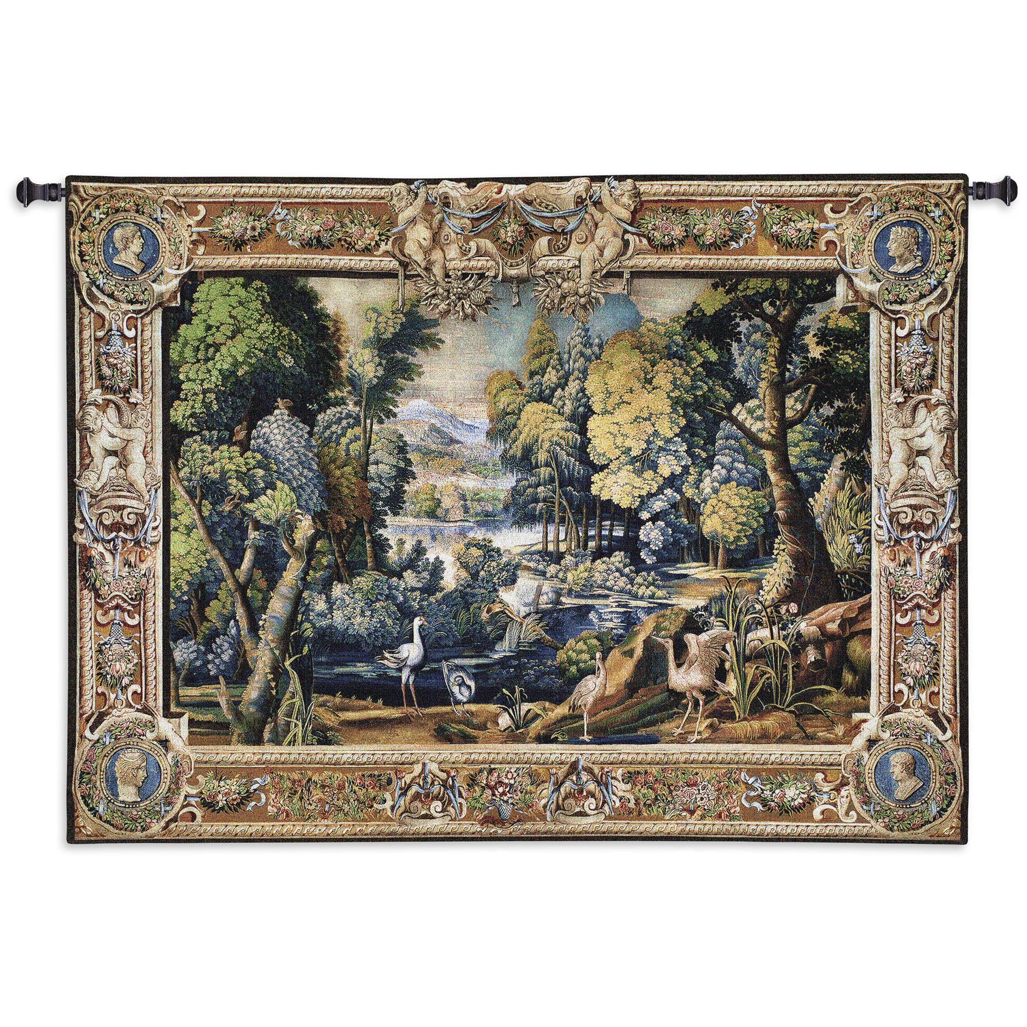 15th Century Landscape Wool And Cotton Tapestry Wall Hanging